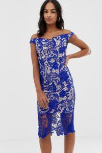 Missguided - Bardot-Midikleid aus Spitze - Blau - Farbe:Blau
