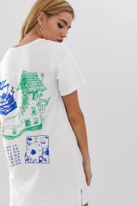 Crooked Tongues - T-Shirt-Kleid mit Print am Rücken - Weiß - Farbe:Weiß