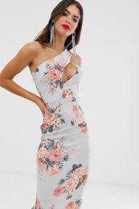 Missguided Tall - Midikleid mit Schulterausschnitten und Blumenmuster - Mehrfarbig - Farbe:Mehrfarbig