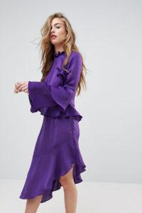 Miss Selfridge - Asymmetrisches Kleid mit Rüschen - Violett - Farbe:Violett