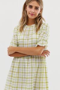 Wednesday's Girl - Kariertes Mini-Hängerkleid im Vintage-Stil - Weiß - Farbe:Weiß