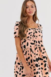 Wednesday's Girl - Mini-Freizeitkleid mit Schmuddeldruck - Rosa - Farbe:Rosa