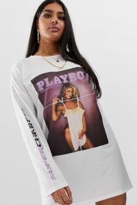 Missguided Plus - Playboy - Weißes T-Shirt-Kleid - Schwarz - Farbe:Schwarz
