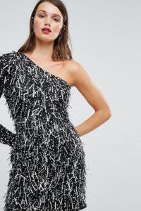 A Star Is Born - Minikleid mit One-Shoulder-Träger und Verzierung im 3D-Stil - Schwarz - Farbe:Schwarz