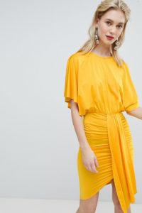Flounce London - Minikleid mit Drapierung vorn - Orange - Farbe:Orange