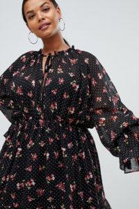 Missguided Plus - Schwarz geblümtes Pairie-Minikleid mit Bindeband am Ausschnitt - Schwarz - Farbe:Schwarz