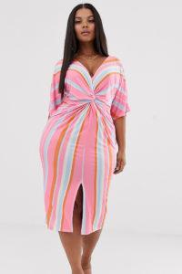 Missguided Plus - Gestreiftes Midikleid mit verdrehtem Design vorne - Mehrfarbig - Farbe:Mehrfarbig