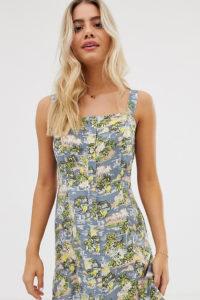 Wednesday's Girl - Trägerkleid mit tropischem Print - Mehrfarbig - Farbe:Mehrfarbig