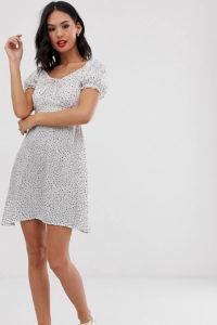Wednesday's Girl - Freizeitkleid mit verstreutem Punktmuster - Weiß - Farbe:Weiß