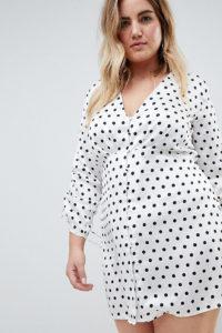 Missguided Plus - Kleingepunktetes Nachmittagskleid mit Knopfleiste - Weiß - Farbe:Weiß