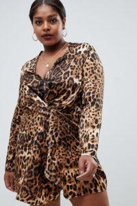 Missguided Plus - Satin-Minikleid mit gedrehter Vorderseite und Leopardenmuster - Mehrfarbig - Farbe:Mehrfarbig