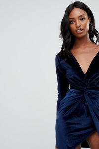 Missguided Tall - Marineblaues Mini-Wickelkleid aus Samt - Navy - Farbe:Navy