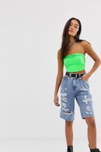 ASOS - Lang geschnittene Shorts mit Zierrissen in verwaschenem Blau - Blau - Farbe:Blau