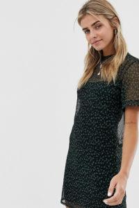Wednesday's Girl - Hübsch geblümtes T-Shirt-Kleid aus Netzstoff - Schwarz - Farbe:Schwarz