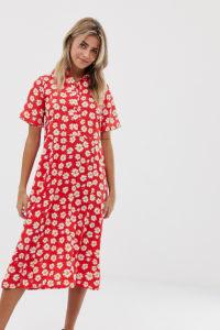 Wednesday's Girl - Midi-Hemdkleid mit Gänseblümchenmuster - Rot - Farbe:Rot