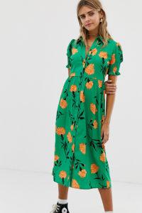 Wednesday's Girl - Midikleid mit Knopfleiste und auffälligem Blumendruck - Grün - Farbe:Grün