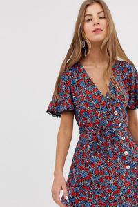 Miss Selfridge - Buntes Mini-Nachmittagskleid mit Knöpfen - Blau - Farbe:Blau