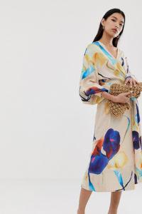 Weekday - Beige geblümtes Midikleid mit Wickeldesign vorn - Beige - Farbe:Beige