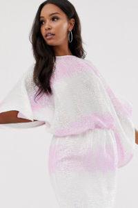 Flounce London - Minikleid mit Fledermausärmeln und Pailletten mit Farbverlauf - Mehrfarbig - Farbe:Mehrfarbig
