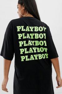 Missguided Plus - Playboy - Schwarzes T-Shirt-Kleid - Weiß - Farbe:Weiß