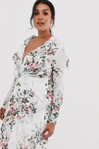 Missguided Plus - Weiß geblümtes Kleid mit verdrehter Vorderseite - Mehrfarbig - Farbe:Mehrfarbig