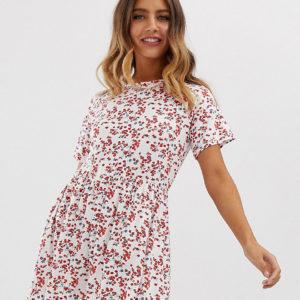 Wednesday's Girl – Kurzes Hängerkleid mit Blümchenmuster – Weiß