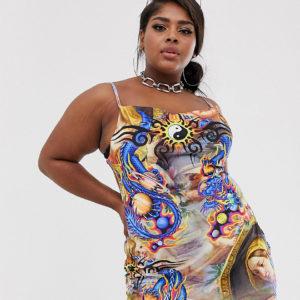 New Girl Order Curve – Samt-Trägerkleid mit Wasserfallausschnitt und Engel-Print – Mehrfarbig