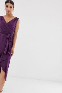 Flounce London - Midaxi-Wickelkleid in Amethxst - Violett - Farbe:Violett