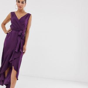Flounce London – Midaxi-Wickelkleid in Amethxst – Violett