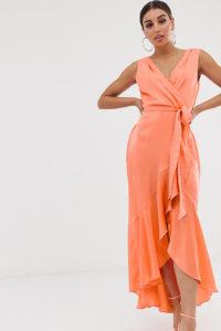 Flounce London - Midaxikleid mit Wickeldesign in Tangerine - Orange - Farbe:Orange