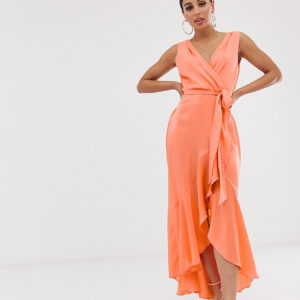 Flounce London – Midaxikleid mit Wickeldesign in Tangerine – Orange