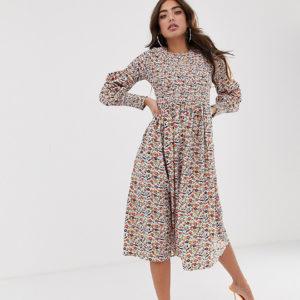Never Fully Dressed – Gerafftes Midi-Skaterkleid mit Blumendruck – Mehrfarbig