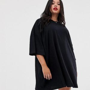 ASOS DESIGN Curve – Oversize-T-Shirt-Kleid – Schwarz