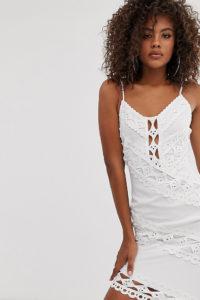Missguided Tall - Minikleid aus weißer Spitze - Weiß - Farbe:Weiß