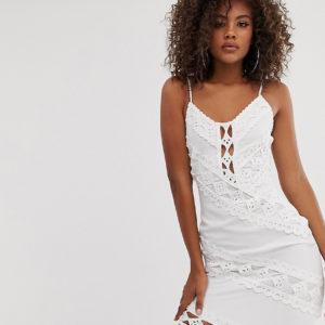 Missguided Tall – Minikleid aus weißer Spitze – Weiß