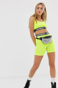 Crooked Tongues - Neonfarbige Legging-Shorts mit Logo-Bund - Grün - Farbe:Grün