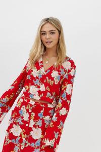 Miss Selfridge - Bluse mit Blumenprint und Bindeband - Rot - Farbe:Rot