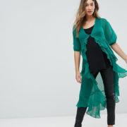 ASOS Maternity - Ultimate - Gerüschte Maxi-Bluse aus Chiffon - Grün - Farbe:Grün