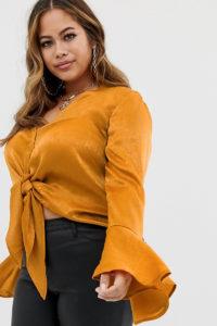 Missguided Plus - Kupferfarbene Bluse aus Satin mit seitlicher Schnürung - Orange - Farbe:Orange