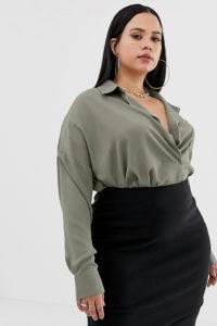 Missguided Plus - Exklusives Hemd mit Tasche in Khaki - Grau - Farbe:Grau