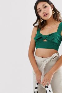 Miss Selfridge - Bustier mit Schleife vorne in Grün - Grün - Farbe:Grün