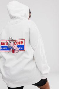 New Girl Order Curve - Oversized-Kapuzenpullover mit Krabben-Grafik - Weiß - Farbe:Weiß