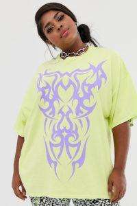 New Girl Order Curve - Oversize-T-Shirt mit Tattoo-Grafik - Gelb - Farbe:Gelb
