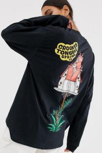 Crooked Tongues - Langärmliges Oversize-Shirt mit Hausmotiv hinten - Schwarz - Farbe:Schwarz