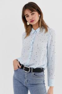 Warehouse - Blaues Hemd mit Sterneprint - Blau - Farbe:Blau