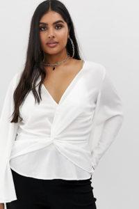 Missguided Plus - Kimono-Bluse mit verdrehter Vorderseite in Weiß - Weiß - Farbe:Weiß