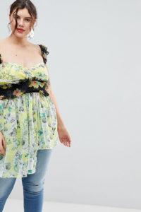 ASOS CURVE - Exklusives Oberteil mit Blumenmustermix - Mehrfarbig - Farbe:Mehrfarbig