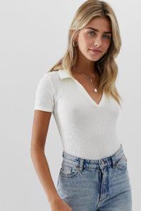 Miss Selfridge - Cremefarbener Body mit V-Ausschnitt und Kragen - Weiß - Farbe:Weiß