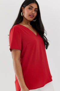 Simply Be - Rote Bluse mit V-Ausschnitt - Mehrfarbig - Farbe:Mehrfarbig