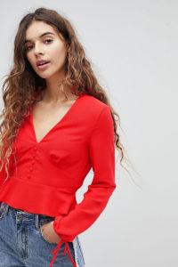 Miss Selfridge - Bluse mit Knopfleiste vorn und Bindebändern an den Ärmeln - Rot - Farbe:Rot
